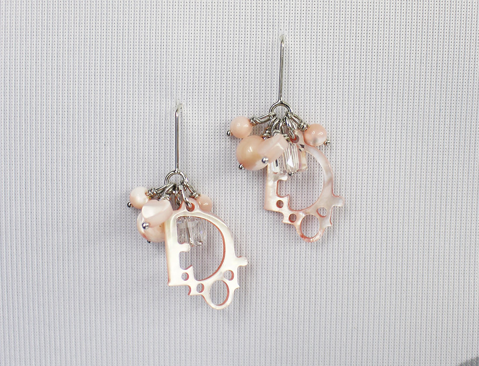 Christian Dior Pink Logo Earrings Beads