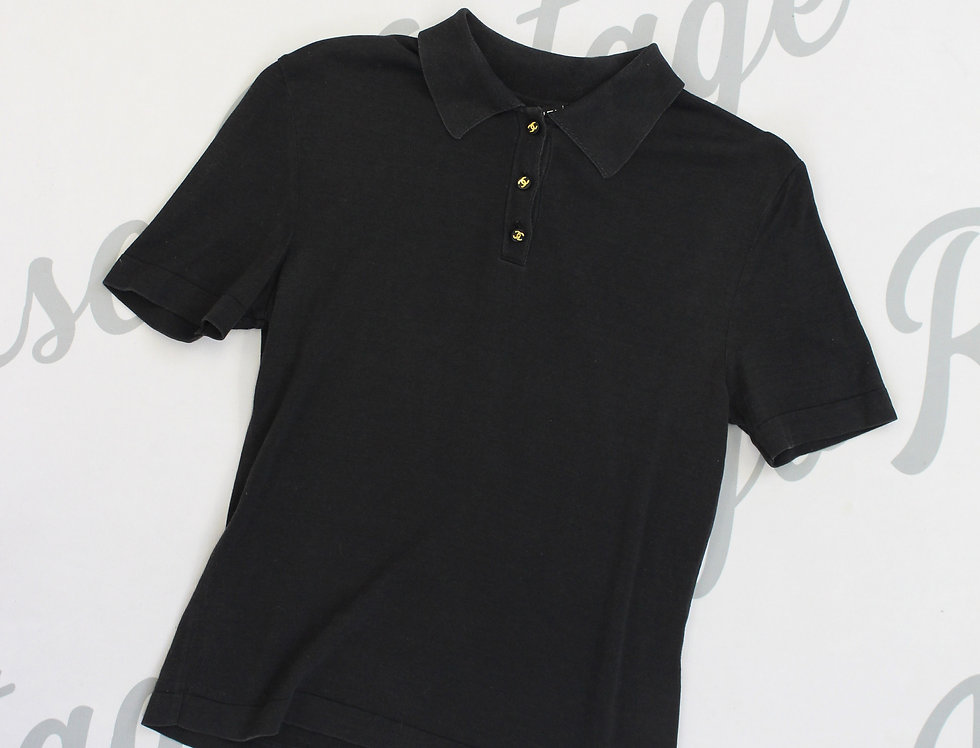 Chanel Black Polo Shirt CC Logo Buttons