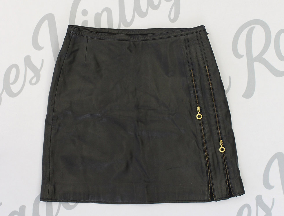 Versace Black Leather Mini Skirt Medusa Logo