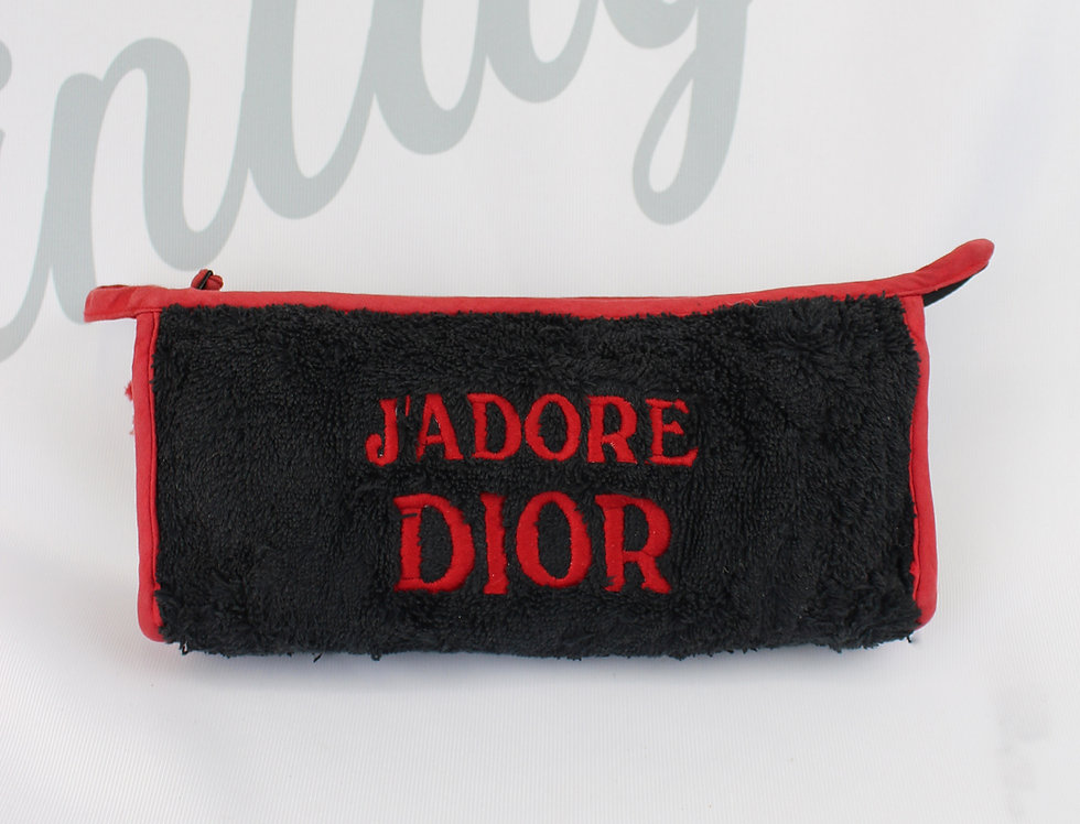 Christian Dior Black & Red Terry Towel J'adore Dior Pouch