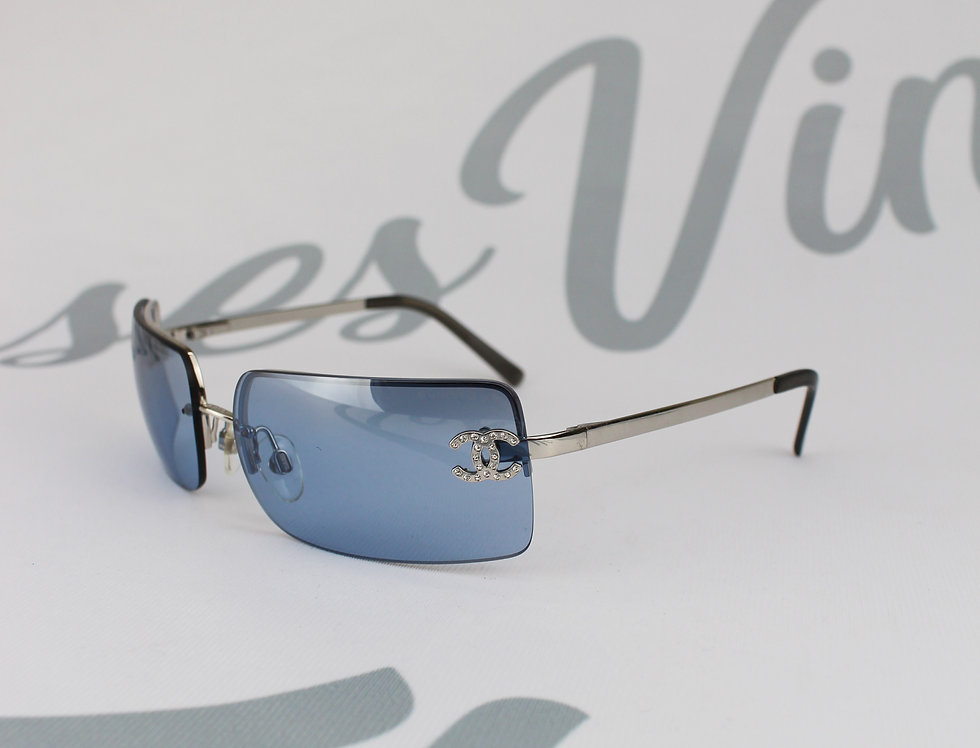 Vintage Chanel Blue Tinted Sunglasses Rhinestone Glasses