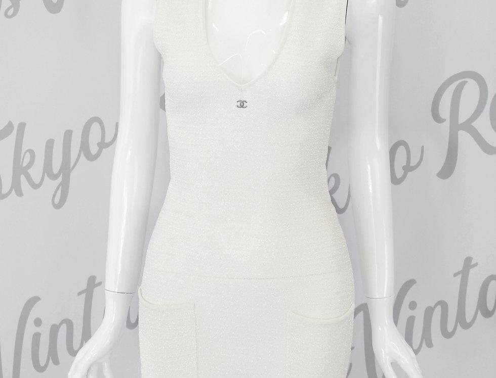 Chanel White Sparkle Knit CC Logo Mini Dress