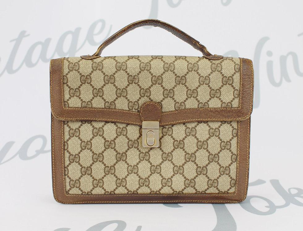 Vintage Gucci GG Monogram Canvas & Leather Business Bag Briefcase Handbag