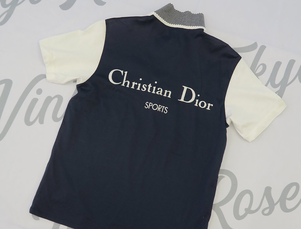Christian Dior Sports Back Logo Polo Shirt White & Navy