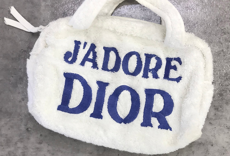 Christian Dior Jadore Dior Blue & White Terry Towel Boston Bag Monogram Trotter