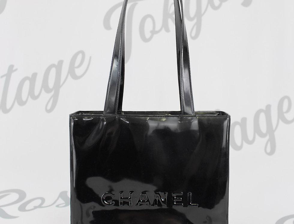 Chanel Black Patent Tote Bag Small