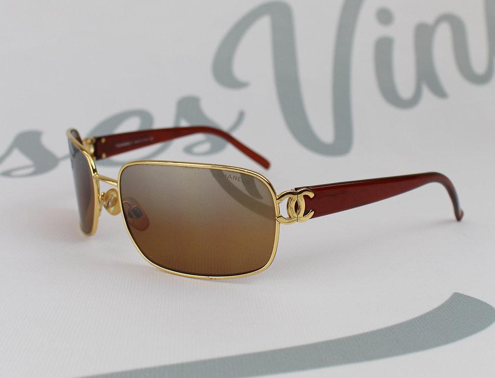 Chanel Gold Frame CC Logo Side Sunglasses