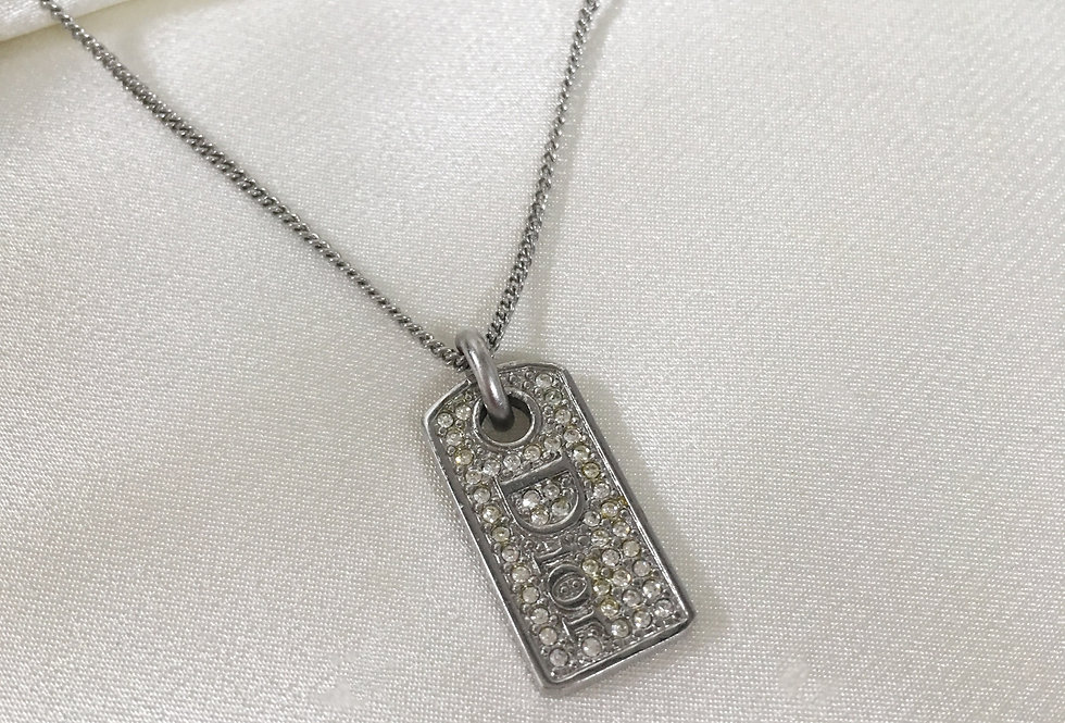 Dior Rhinestone Dog Tag Necklace Silver Tone Chain