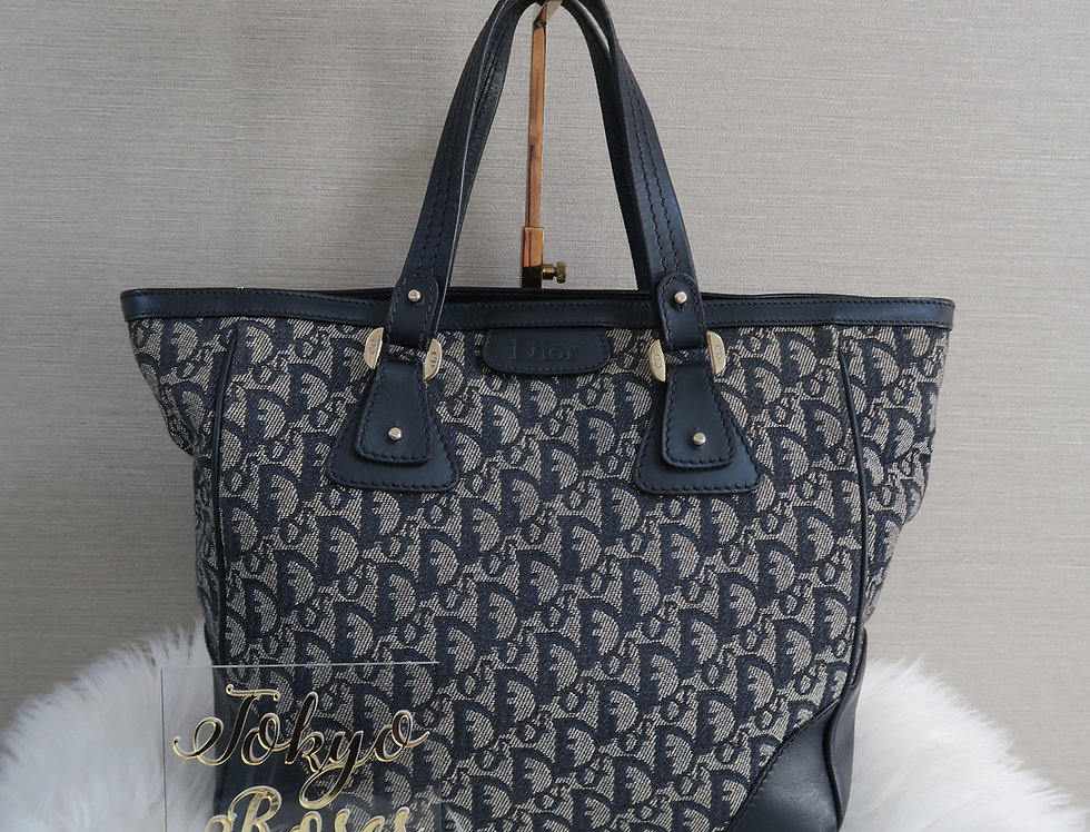 Vintage Dior Navy Canvas & Leather Oblique Trotter Monogram Print Tote Bag Rare
