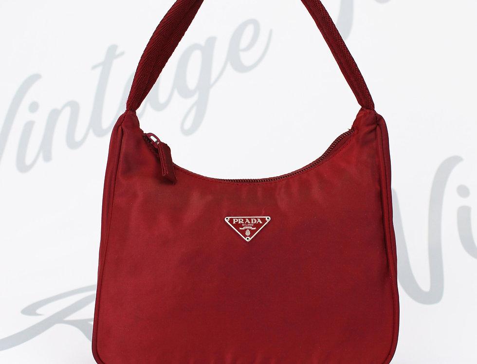 Vintage Prada Red Nylon Mini Shoulder Bag Handbag