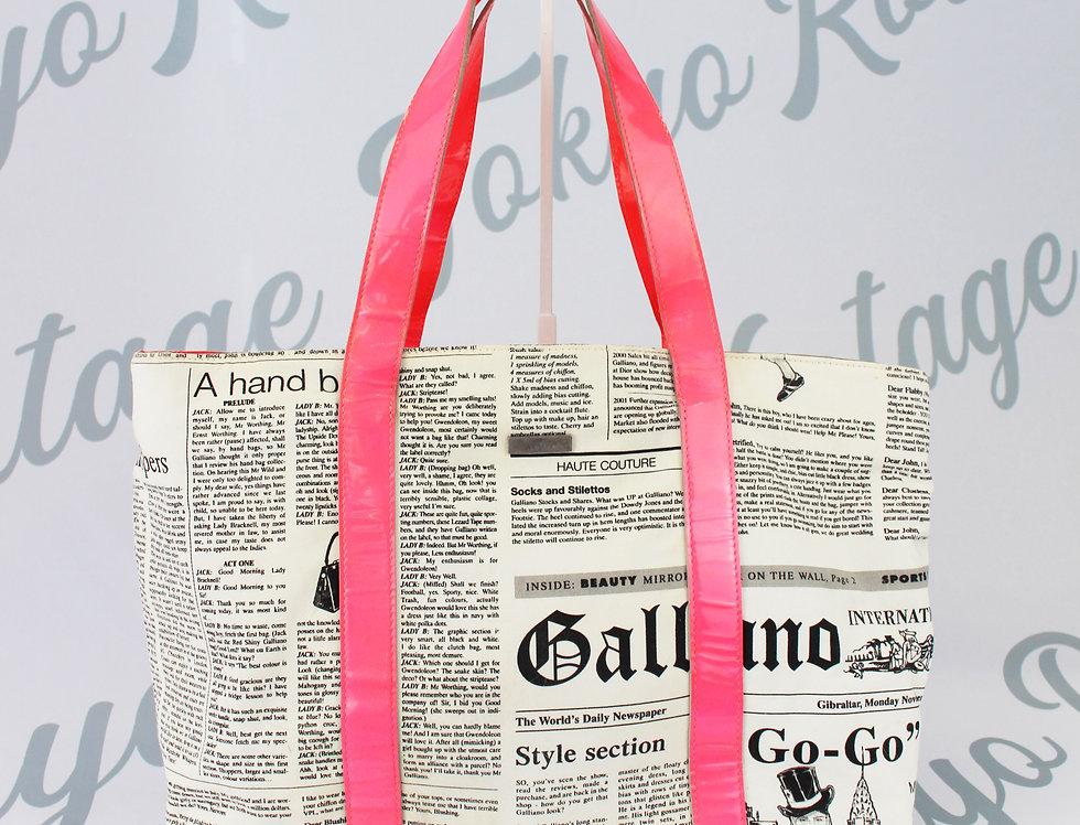 John Galliano Newspaper Print Gazette Handbag Neon Pink