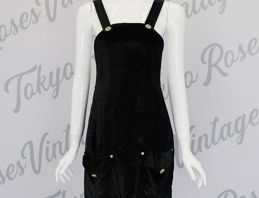 Vintage Versace Black Overall Dungaree Dress