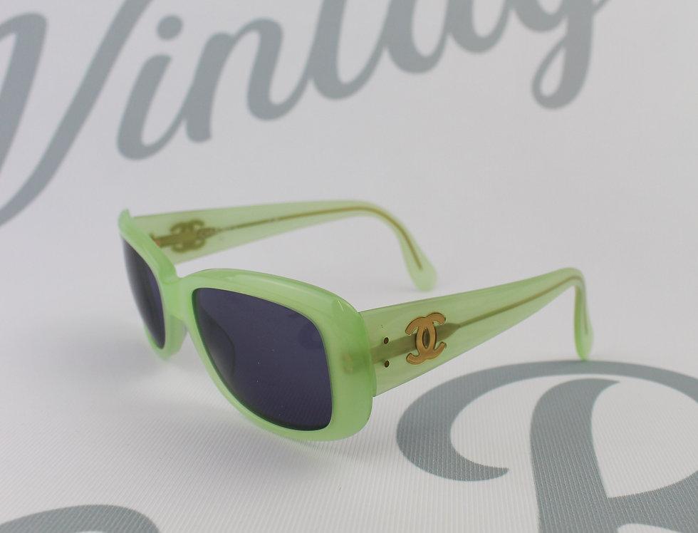 Vintage Chanel Neon Green Frame Sunglasses Logo Glasses