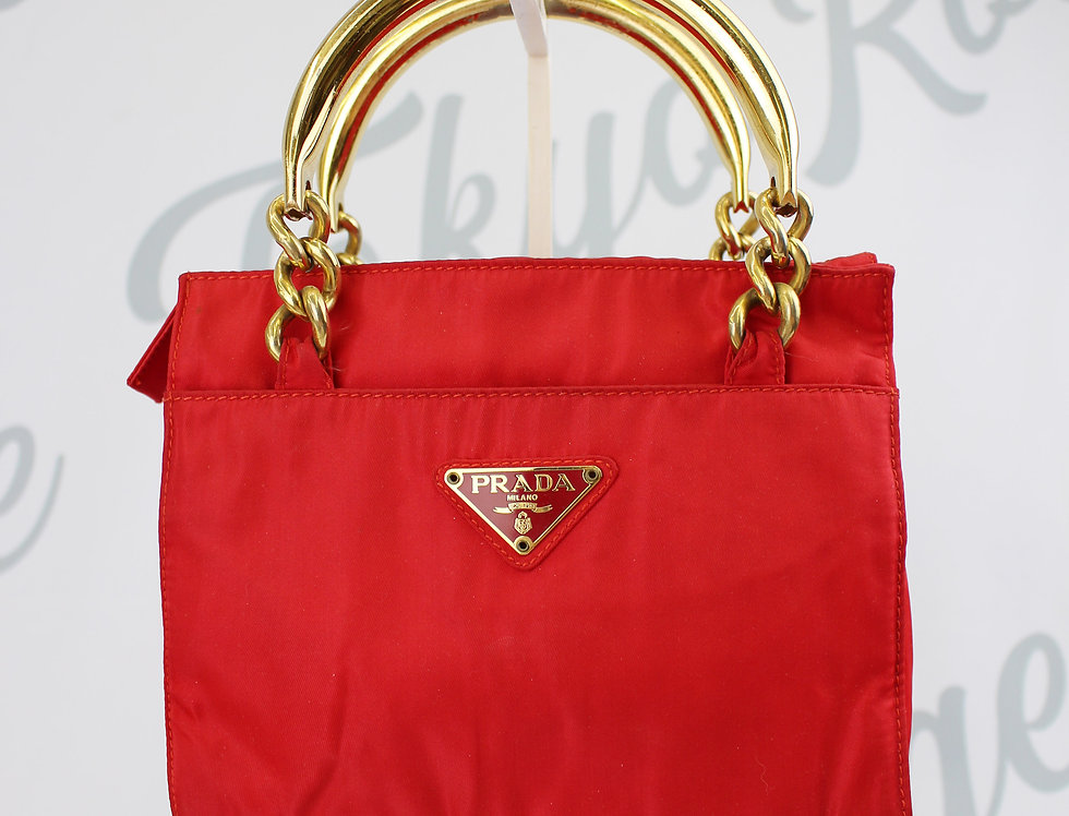 Red Prada Nylon Gold Chain Handle Mini Bag