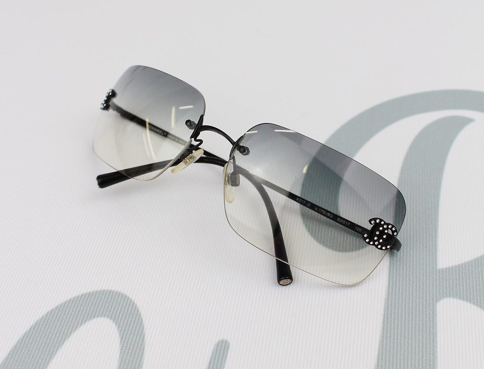 Chanel Rimless Grey Black Tinted Sunglasses Rhinestone Glasses