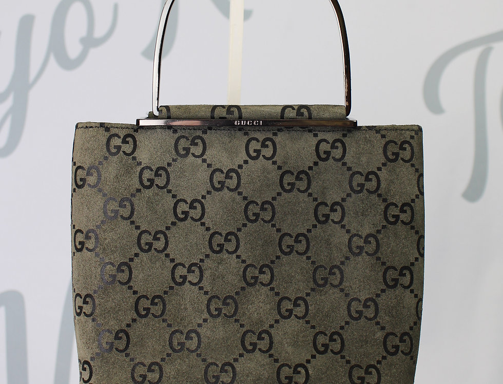 Suede Gucci Mini Bag Charcoal Grey Monogram Handbag Rare