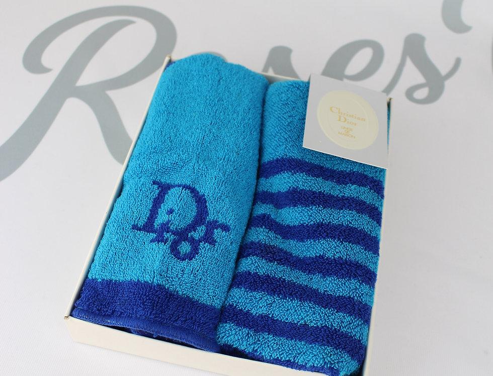 Dior Blue Stripe Small Towel Set