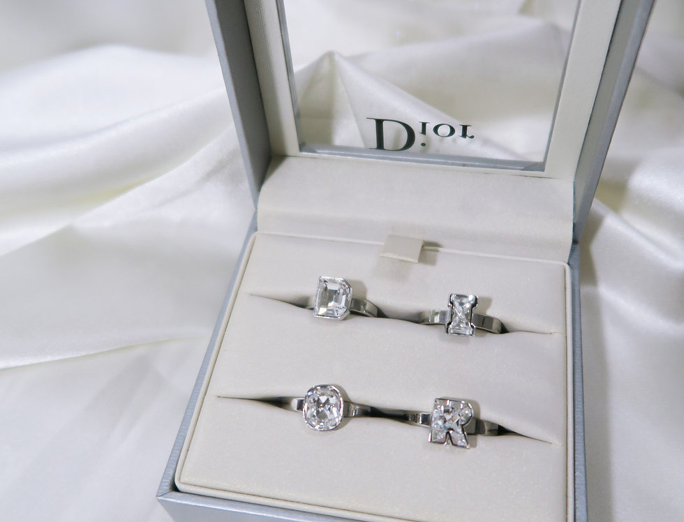 Christian Dior Silver DIOR Letter Ring Set