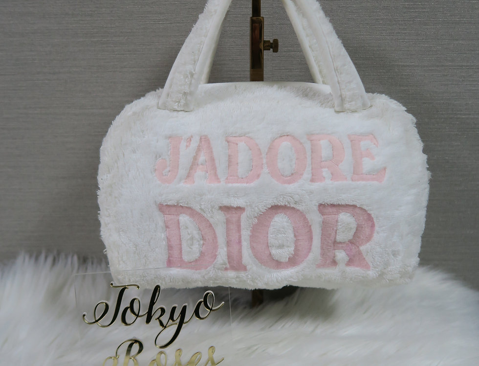 Christian Dior Jadore Dior Pink & White Terry Towel Boston Bag Monogram Trotter
