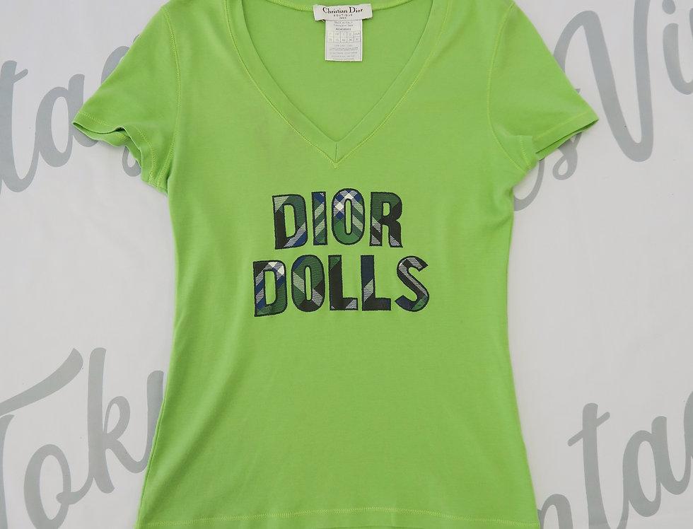 """Vintage Christian Dior """" Dior Dolls """" V Neck T Shirt Green"""