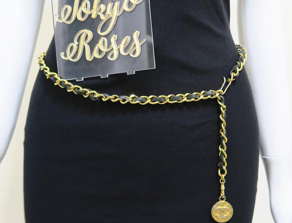 Chanel Chain Belt Gold Tone Black Leather CC Charm
