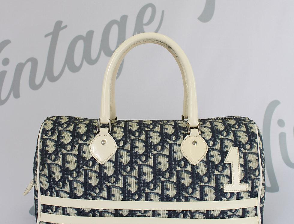 Dior Blue Coated Canvas Mini Boston Bag