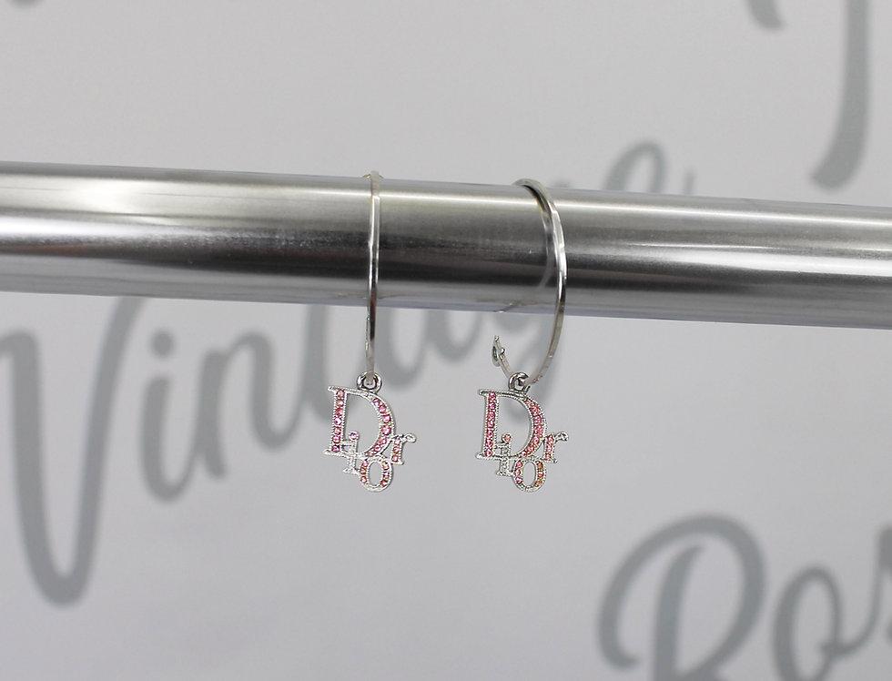 Dior Pink Rhinestone Logo Hoop Earrings