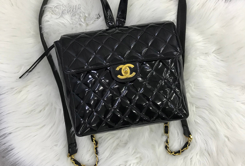 Chanel Patent Leather Quilted Backpack Classic Vintage