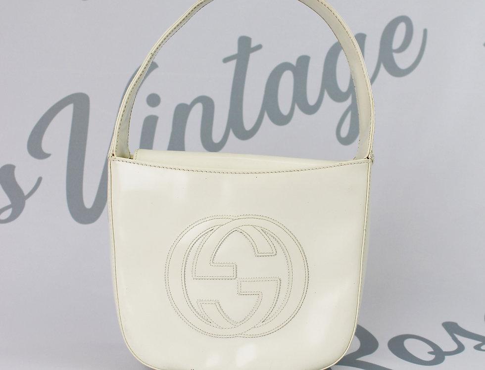 Gucci Patent White Jumbo Logo Mini Bag