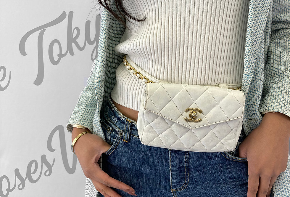 Chanel Lambskin Quilted Fanny Pack Gold Turnlock