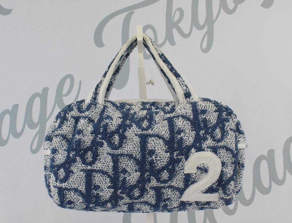 Dior Blue Terry Towel Boston Bag Monogram Trotter Print Handbag