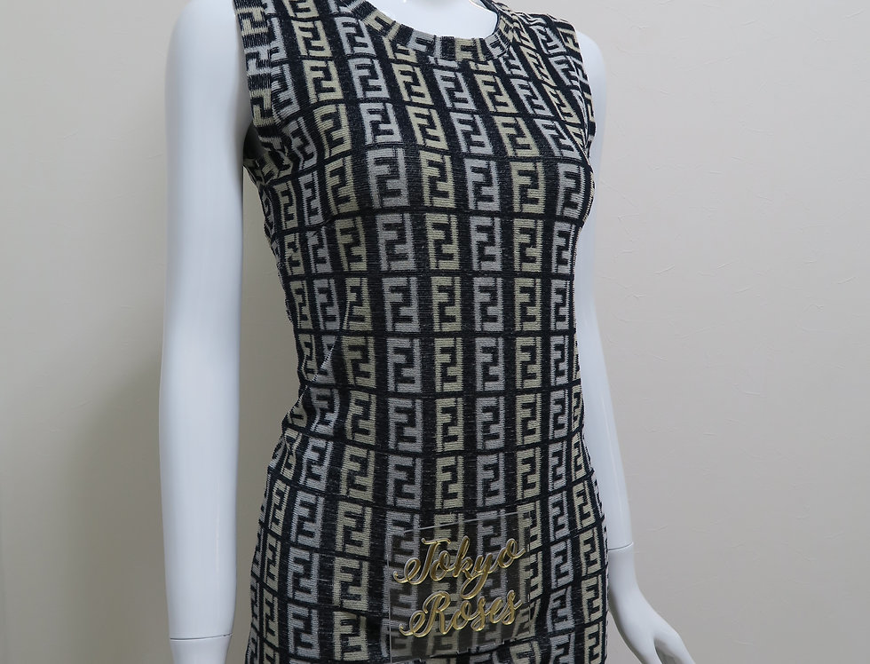 Black Fendi FF Logo Zucca Print Terry Towel Dress