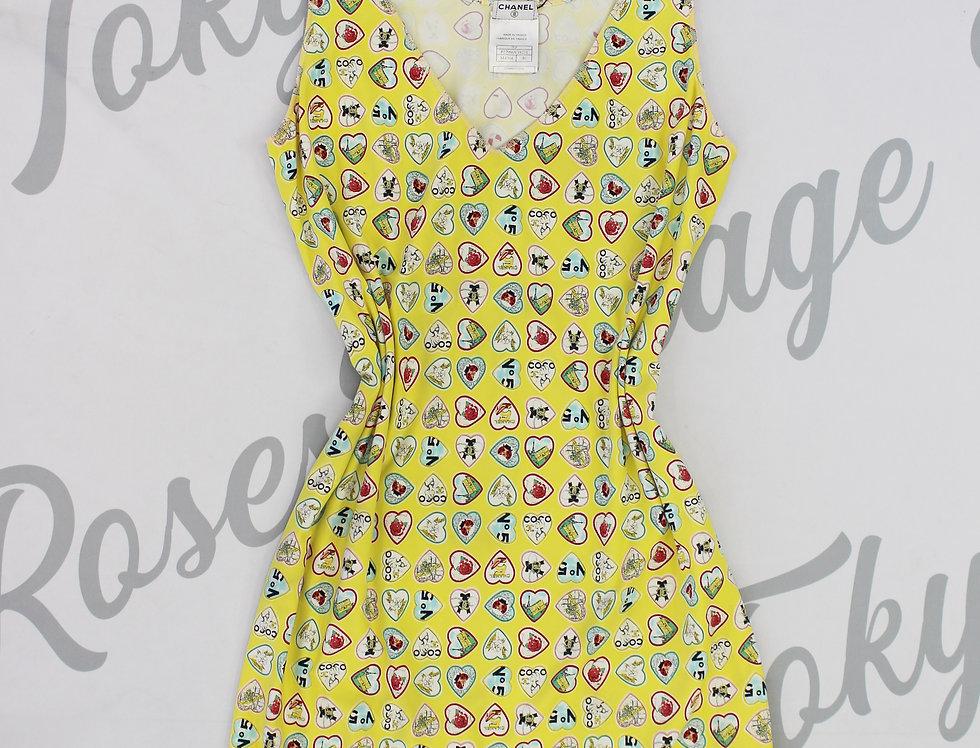 Chanel Hearts Print Sleeveless Mini Dress