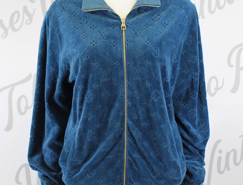 Louis Vuitton Blue Velour Jacket Monogram Logo Print