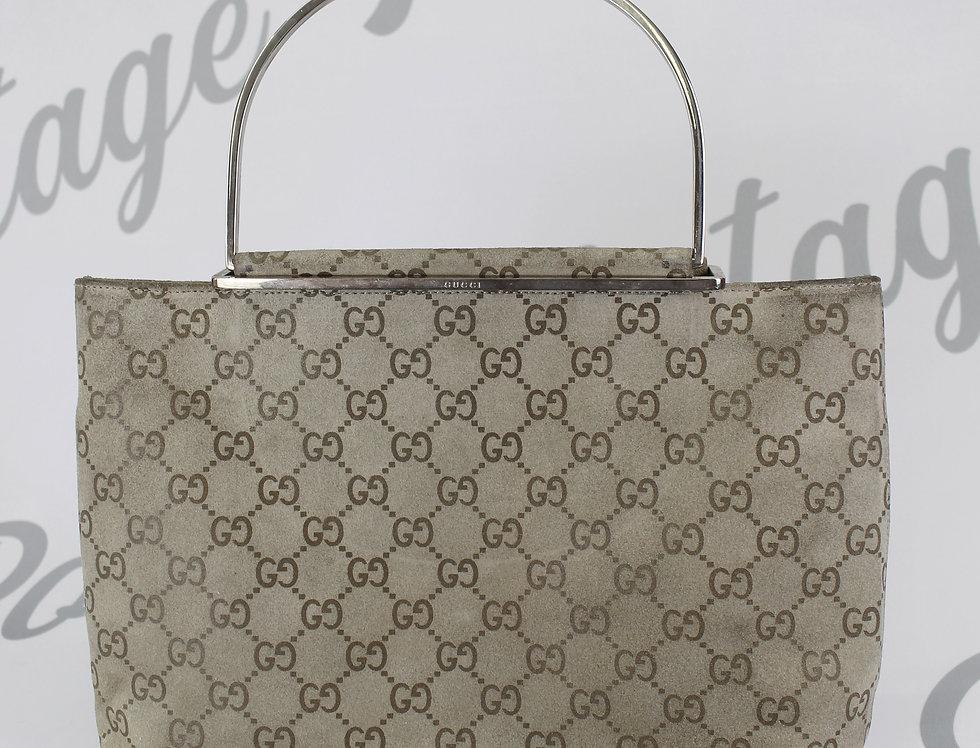 Suede Gucci Mini Bag Light Grey Monogram Handbag Rare