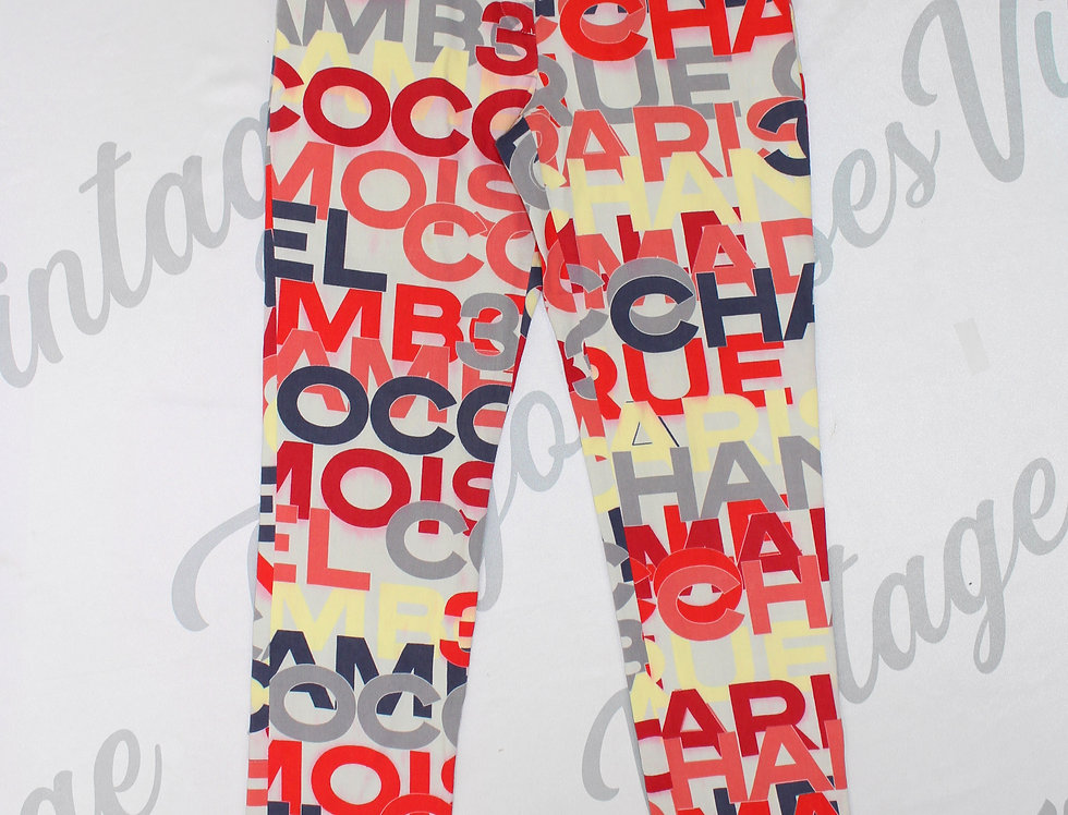 Chanel Multicolor Text Pants 2000
