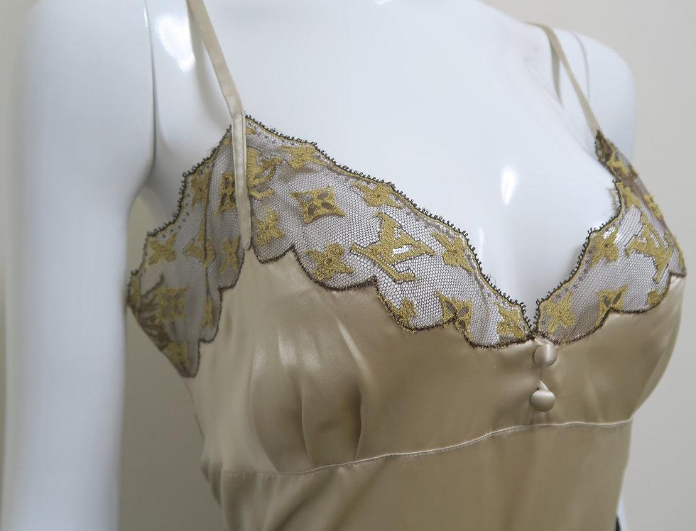 Louis Vuitton Monogram Lace Trimmed Silk Camisole