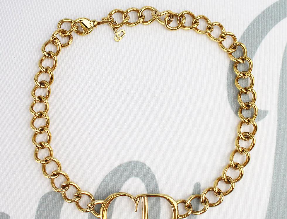 Christian Dior Gold CD Logo Chain Choker Necklace