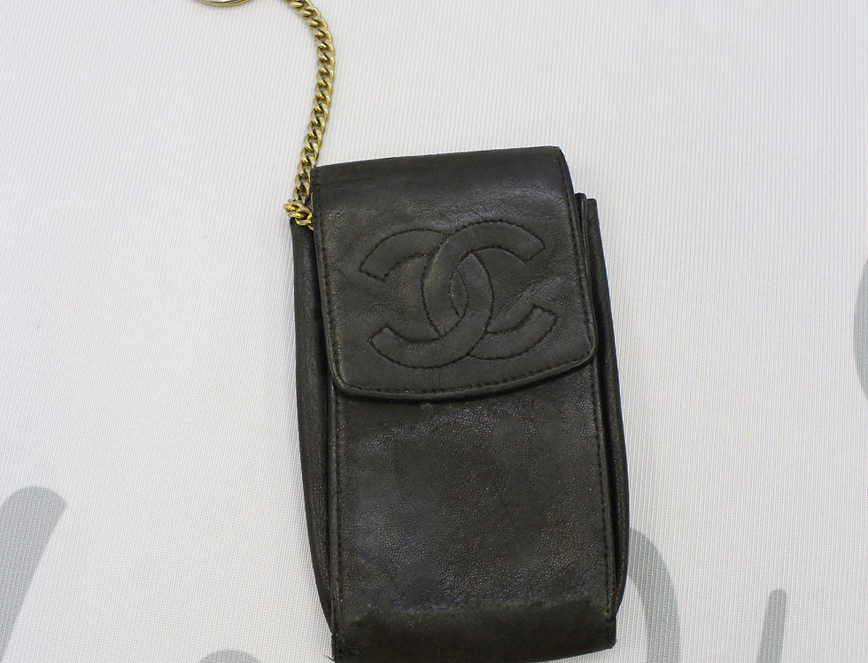 Chanel Multi Pouch Brown Leather