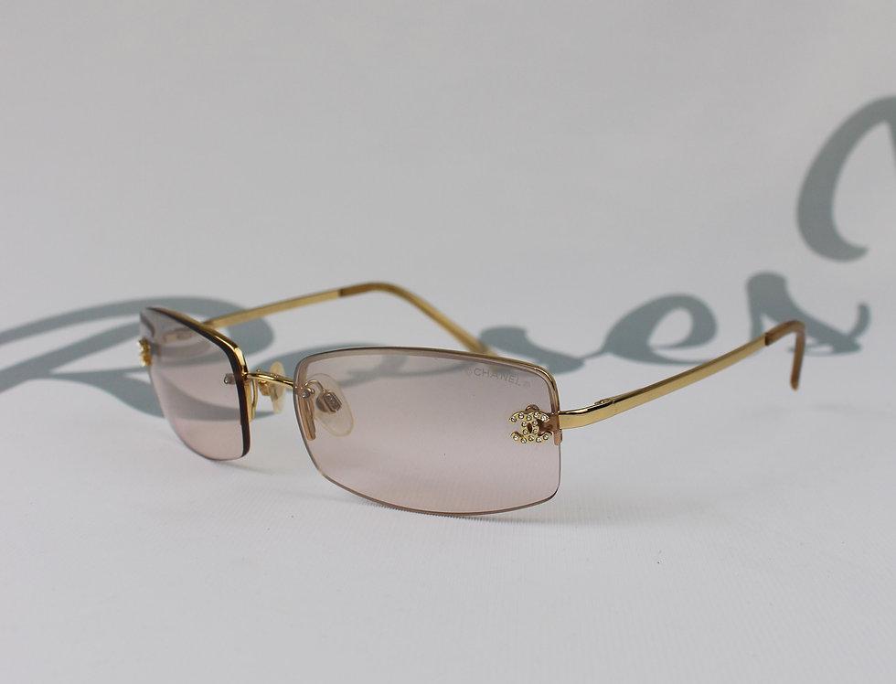 Vintage Light Brown Sunglasses Rhinestone Glasses S