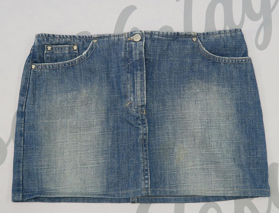 Versace Jeans Couture Medusa Details Denim Mini Skirt Distressed
