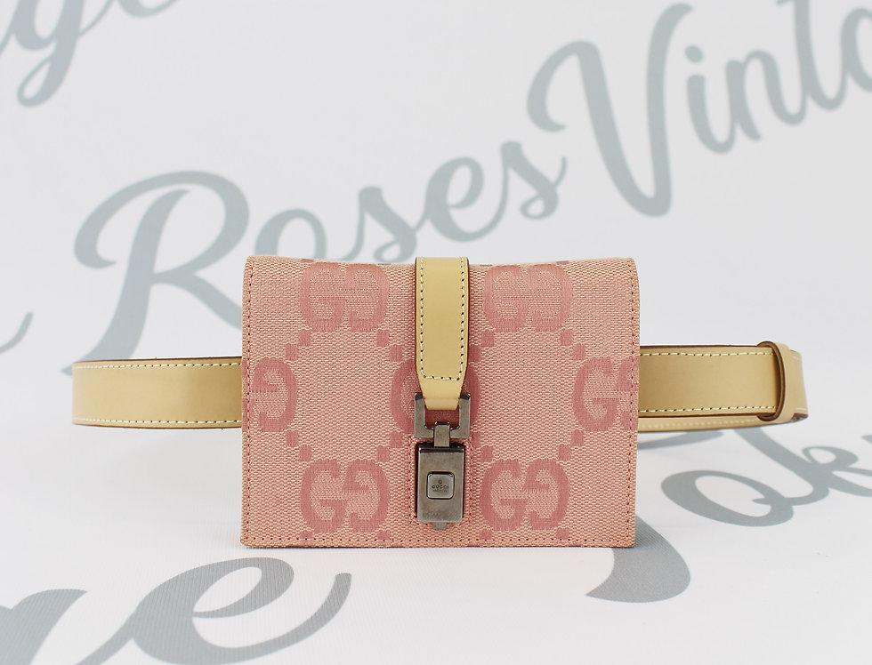 Pink Gucci GG Monogram Fanny Pack Bum Bag Crossbody Belt