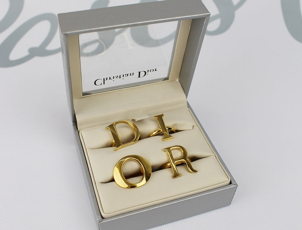 "Iconic Christian Dior 4 Ring Letter Set ""D I O R"" Gold Tone"