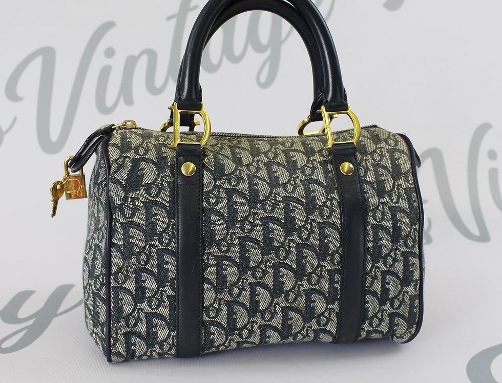 Christian Dior Small Navy Boston Bag Trotter Oblique Monogram Print