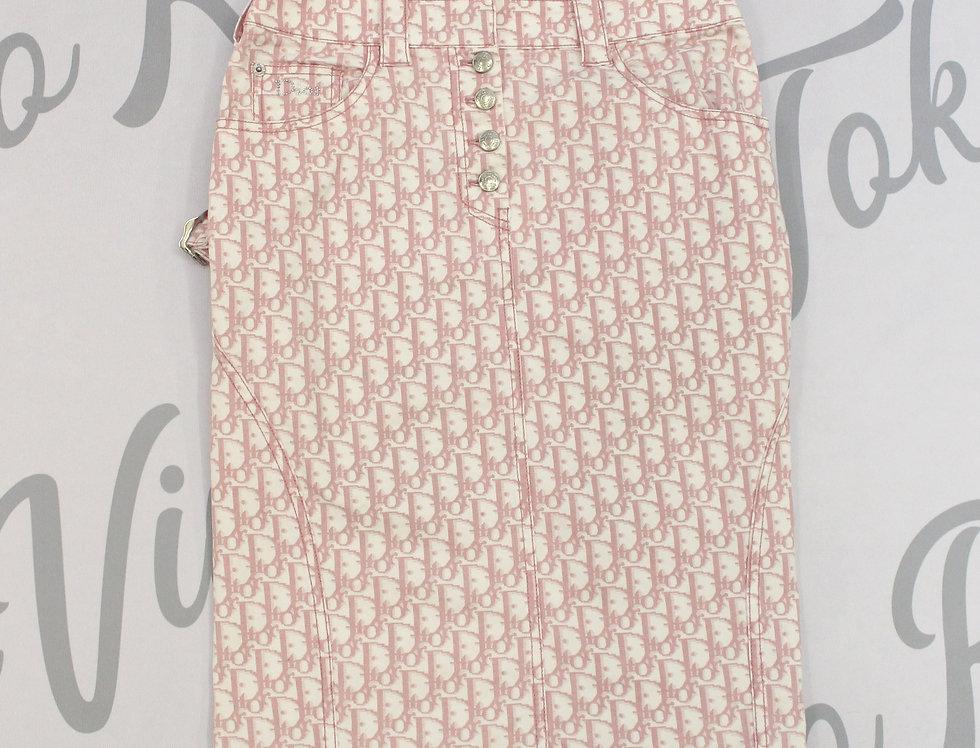 Christian Dior Pink Trotter Monogram Logo Print Pencil Skirt