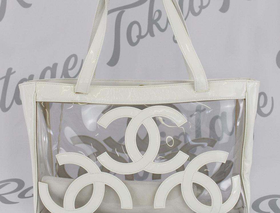 Chanel Transparent White Patent Logo Bag
