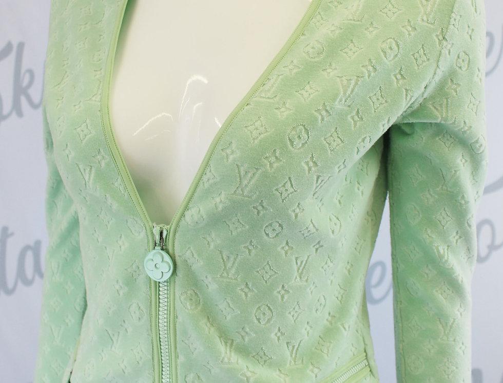 Louis Vuitton Green Velour Jacket Monogram Logo Print