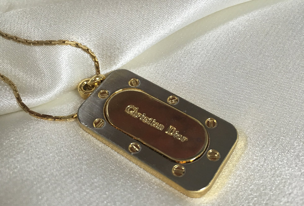 Christian Dior Gold / Silver Tone Dog Tag Necklace