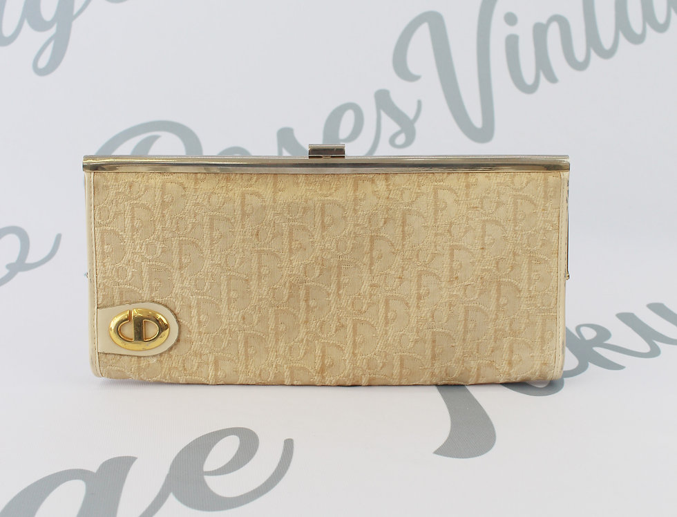 Christian Dior Cream Trotter Monogram Printed Clutch 1960s
