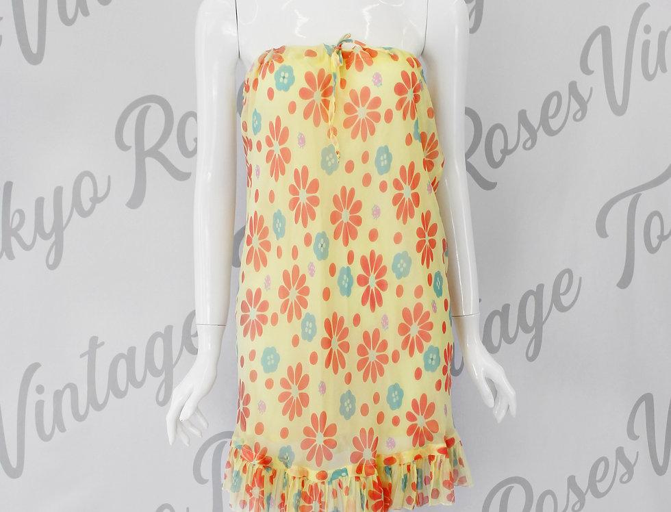 90s Fendi Yellow Floral Sheer Skirt Hippie Chic